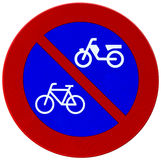 Red and blue bicycle reflector sign Royalty Free Stock Image
