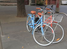 Red and Blue bicycles Royalty Free Stock Photography