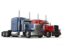 Red and blue big modern semi - trailer trucks - side by side. Isolated on white background stock illustration
