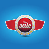 Red blue big sale button with wings Royalty Free Stock Photography