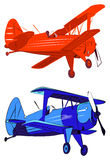 Red and blue biplanes Royalty Free Stock Photo