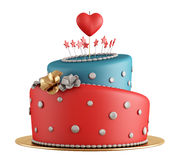 Red and blue birthday cake. With candle in the shape of heart isolated on white - rendering Royalty Free Stock Photo