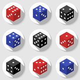 Red, blue and black casino dice on a white background. Royalty Free Stock Photo