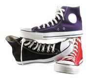 Red,blue and black classic sneakers Stock Photo