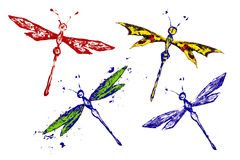 Red blue black green yellow paint made dragonfly set vector illustration