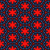 Red, blue and black nordic pattern Stock Images