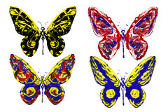 Red blue black yellow paint made butterfly set Stock Photos