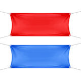 Red and Blue Blank Empty Horizontal Banners Stock Image