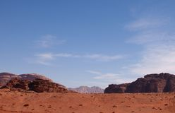Red Blue Blank Landscape. Landscape from Wadi Rum in Jordan. The setting for the film Lawrence of Arabia stock image