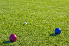 Red and Blue Bocce Balls Royalty Free Stock Images