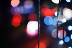 Defocused city lights Bokeh. Red and Blue Bokeh Backgrounds stock images