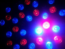 Red and blue bokeh lights in the dark Stock Photography