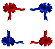 Red blue bow. Four red and blue plated bow isolated on white bachground Royalty Free Stock Photo