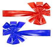 Red and blue bow on white Stock Photos