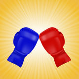 Red and Blue Boxing Gloves Stock Image