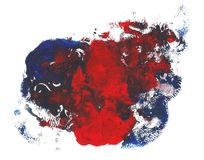 Red blue bright colors acrylic paint abstract spot. Abstract acrylic paint monotyped spot. Red blue bright colors. Vector illustration isolated on white royalty free illustration