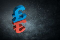Red and Blue British Currency Symbol or Sign With Mirror Reflection on Dark Dusty Background royalty free illustration