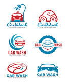 Red and blue Car wash service logo vector set design Royalty Free Stock Photography