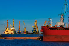 Red and blue cargo ships. Red and blue cargo ship loading in the port of Riga Royalty Free Stock Photos