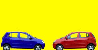 Red and blue cars royalty free stock image