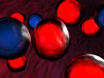 Blue and red cells flowing in the vein - 3D rendering. Red and blue cells are flowing in the blood, inside a vein - 3D rendering illustration Royalty Free Stock Image