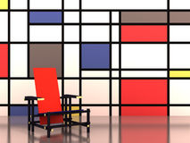 Red and blue chair. The iconic chair with a mondrian-type painting on the background stock illustration