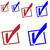 Red , blue check marks election Royalty Free Stock Photos