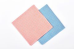 Red and blue checkered napkins. Two cloth vintage napkins isolated on white background Royalty Free Stock Image
