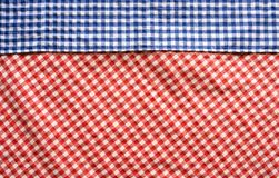 Red and blue checkered patterned tablecloth. For a bavarian decoration Royalty Free Stock Images