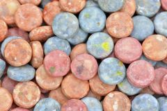 Red and blue chewing candies Stock Photos