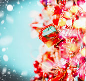 Red blue Christmas background with holiday lighting and bokeh with snow Stock Images
