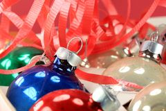 Red and Blue Christmas Ball Ornament. Closeup of glass Christmas ball ornaments Stock Image