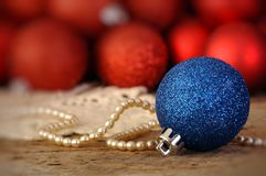 Red and blue Christmas balls Stock Photo