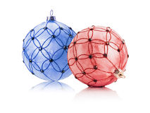 Red and blue Christmas balls isolated on the white background Stock Images