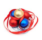 Red And Blue Christmas Blubs Royalty Free Stock Images