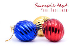 Red and blue christmas blubs. On white background with copy space Stock Photo
