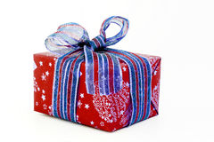 red and blue Christmas gift with ribbon isolated Stock Photo