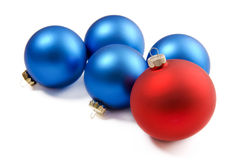 Red and blue Christmas ornaments. Isolated on a white background Stock Image