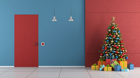 Red and blue Christmas room Royalty Free Stock Photography