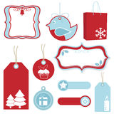 Red and blue christmas tags Royalty Free Stock Photography