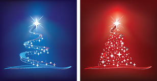 Red and blue christmas tree. Red and blue abstract style christmas trees Royalty Free Stock Photos