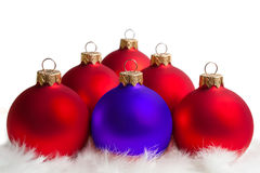 Red and blue Christmas tree balls Stock Images