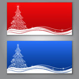 Red and blue Christmas tree cards Royalty Free Stock Photo