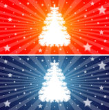 Red and Blue Christmas trees. A set of two Christmas tree backgrounds Stock Photography