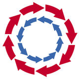 Red and blue circle arrows Royalty Free Stock Photos