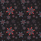 Red, blue circle strip fireworks and sparklers on a dark backgro. Und. Seamless pattern for Independence Day. Vector illustration Royalty Free Stock Image