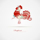 Red blue cock. Red blue cock walking with mouth open. Vector illustration. Cartoon images Stock Images