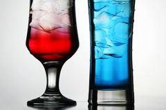 Red and blue cocktails Stock Image