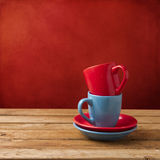 Red and blue coffee cups Stock Image