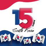 Red and blue color digit 15 on South Korea national flag backgro. Und for Korean Independence day celebration Royalty Free Stock Image